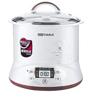 TONZE DGD22-22EG Healthy Smart 3 Ceramic Pot Electric Stew Pot, Slow Cooker Soup Maker, White, 2Qt/400W