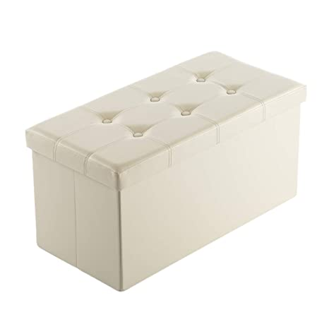 purchase cheap cede5 51fc6 AuAg Folding Storage Ottoman Bench Faux Leather Toy Box/Chest Window Padded  Seat Foot Rest Storage Easy to Assemble (Beige, 30