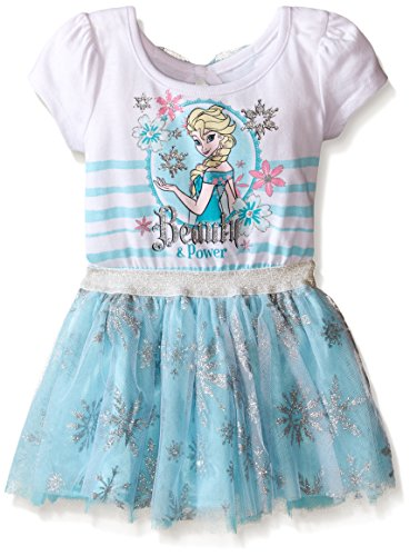 Disney Little Girls' Toddler Frozen Dress with Glitter Tulle and Bow, Light Blue, (Frozen Dresses For Toddlers)