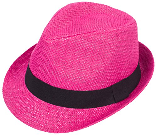 DRY77 Mens Womens Straw Summer Short Brim Fedora Hat Trilby Beach Gangster Hot, Hot Pink, S/M -