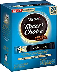 Nescafe Taster's Choice Vanilla Instant Coffee, 0.07oz.Count Single Serve Sticks, 20 Count, (Count of 8)