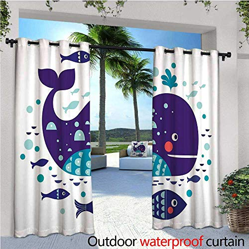 cobeDecor Whale Patio Curtains Navy Sea Theme Cartoon Big Fish with Others in Ocean Swimming Image Art Outdoor Curtain for Patio,Outdoor Patio Curtains W120 x L84 Purple Turquoise White