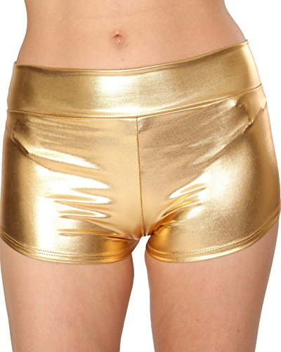 Rave Wonderland Metallic Booty Shorts, Bottoms for Raves, Festivals, Costumes Gold Small