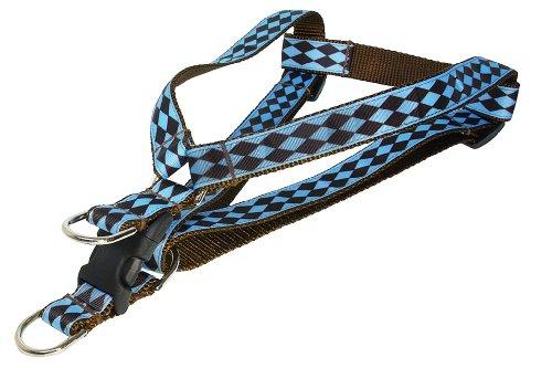 Sassy Dog Wear 18-24-Inch Blue/Brown Jester Dog Harness, Medium