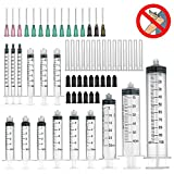 15 Pack syringe - 100ml,60ml,30ml,10ml,5ml,3ml,1ml Syringes with Blunt Tip Needles and Storage Caps Great for Refilling and Measuring E-Liquids, E-cigs, E-juice, Wood Glue, Glues, Adhesives, Light Oil