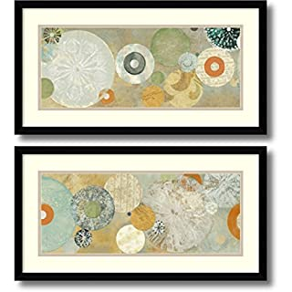 "Framed Art Print, 'Beach Spa- set of 2' by Carmen Dolce: Outer Size 25 x 13"" Each (B016MRMQGK) 
