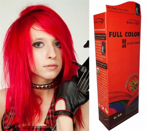 Permanente Haarfarbe Tönung Coloration Haar Cosplay Gothic Punk KNALL HELL ROT 0/55