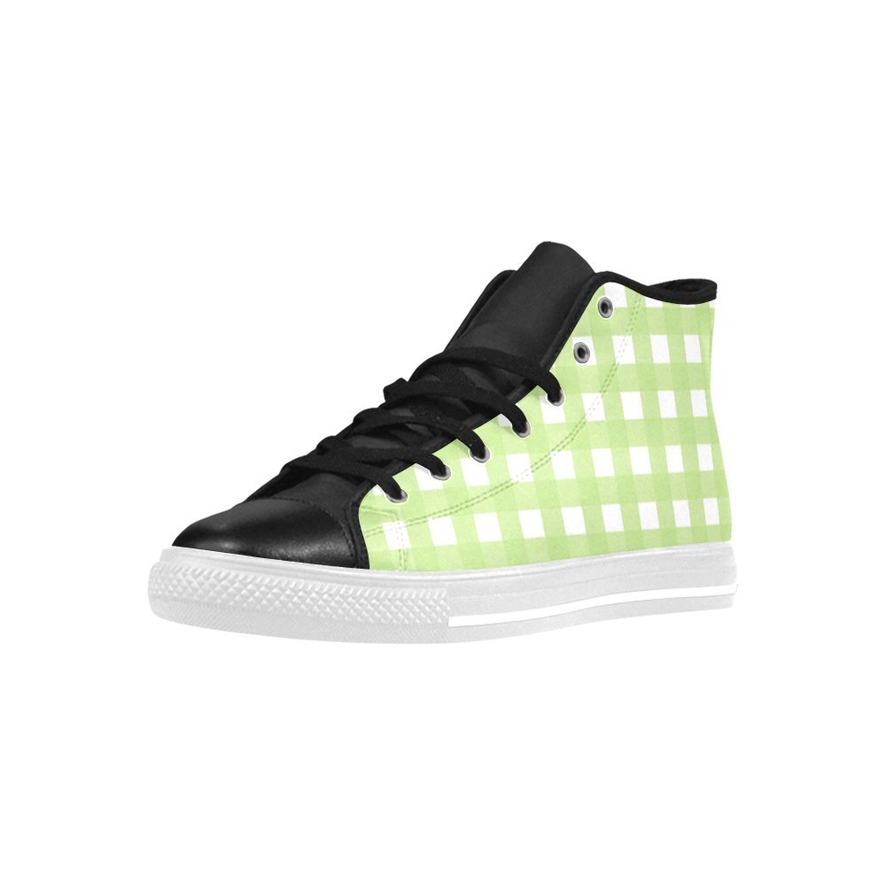 Green Check High Top Action Leather Mens Shoes