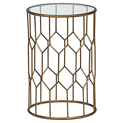 "Amazon Brand – Rivet Geometric Modern Glass and Metal Side End Table Stand, 15.6"" W, Gold Finish - This handsome metal and glass end table will add a true modern style statement to your home. A metal base with geometric shapes is coated with gold finish and supports a top of tempered glass. A compact profile allows it to fit in tight spaces 15.6"" Diameter x 23""H Sleek modern frame with gold finish; tempered glass - living-room-furniture, living-room, end-tables - 51TzDcYhOFL. SS400  -"