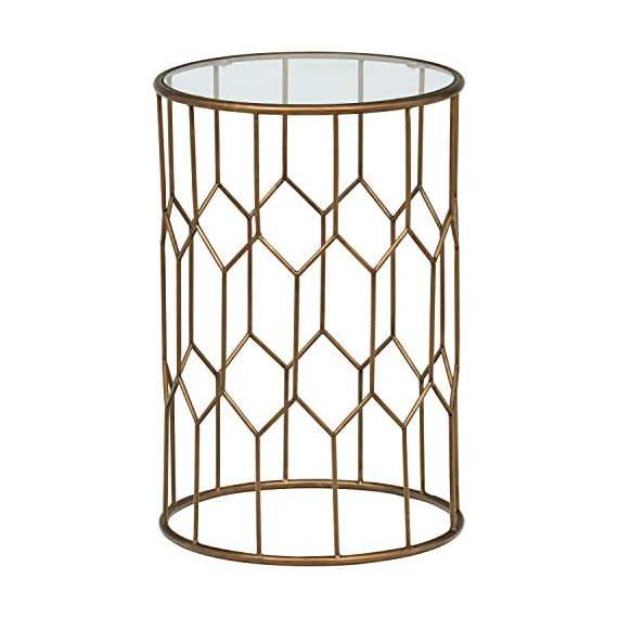 "Rivet Geometric Modern Glass and Metal Side End Table Stand, 15.6"" W, Gold Finish - This handsome metal and glass end table will add a true modern style statement to your home. A metal base with geometric shapes is coated with gold finish and supports a top of tempered glass. A compact profile allows it to fit in tight spaces 15.6"" Diameter x 23""H Sleek modern frame with gold finish; tempered glass - living-room-furniture, living-room, end-tables - 51TzDcYhOFL. SS570  -"