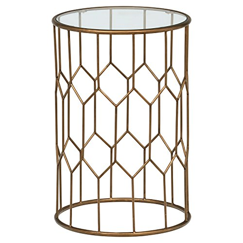 Rivet Geometric Modern Glass and Metal Side End Table Stand, 15.6
