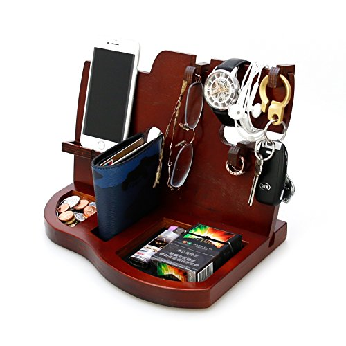 Red Wooden Phone Docking Station with Key Holder, Wallet and Watch Organizer Men's Gift