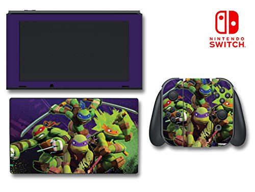 Teenage Mutant Ninja Turtles TMNT Leonardo Leo Michaelangelo Donatello Raphael Cartoon Video Game Vinyl Decal Skin Sticker Cover for Nintendo Switch Console ()