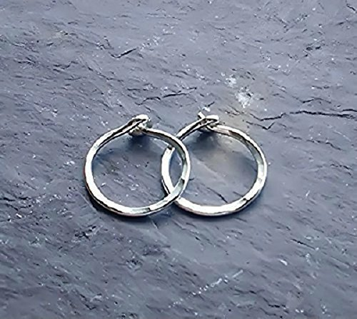 Tiny 925 Sterling Silver Huggie Hoop Earrings Hammered Endless Sleeper Hoops 10MM 12MM Continuous Small Textured Earrings 10mm 12mm