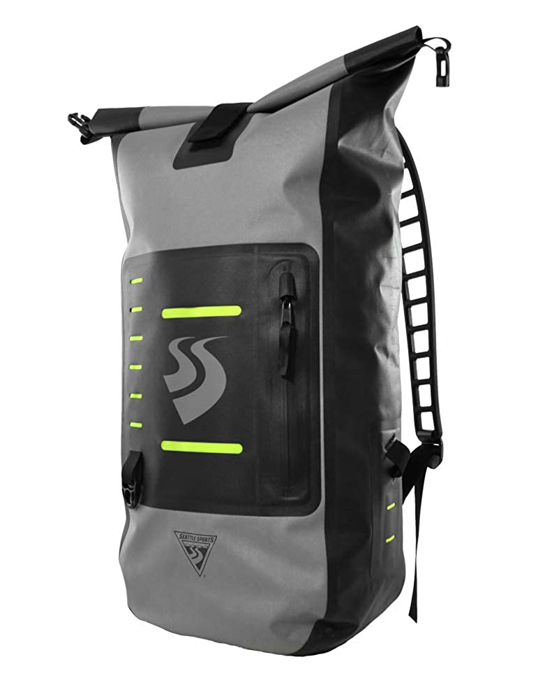 Image of Dry Bags Seattle Sports LocoDry FORDR PacknModPok - Lightweight 30L Waterproof Commuter Dry Bag Backpack with Breathable Silicone Shoulder Straps, Gray/Black