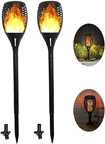 LT Lights Outdoor Solar Torch Lights Upgraded-3 Modes Sun USB Powered Dancing Flickering Flames Torch Solar Path Light, Dusk to Dawn Auto On Off Security Spotlights for Patio Garden Christmas Decor 2