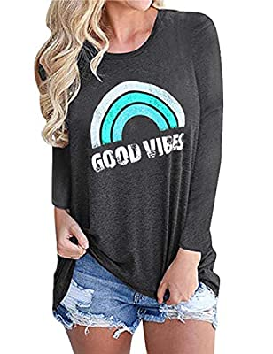 OUNAR Good Vibes Shirt Women Tank Top Loose Fit Cute Rainbow Graphic Tunic Cozy Comfy Blouse Top