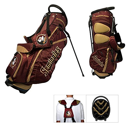 Team Golf NCAA Florida State Seminoles Fairway Golf Stand Bag, Lightweight, 14-way Top, Spring Action Stand, Insulated Cooler Pocket, Padded Strap, Umbrella Holder & Removable Rain Hood