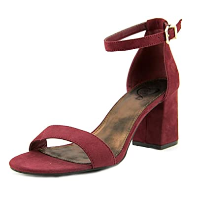 143 Girl Newsie Women Open-Toe Synthetic Burgundy Heels