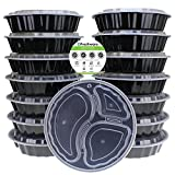 "Freshware YH-9398 9"" Round 3 Compartment Bento Lunch Boxes with Airtight Lids (32oz, 15 Pack), Black"