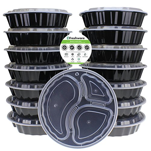 Freshware 15-Pack 9-Inch Round 3 Compartment Bento Lunch Boxes with Lids - Use for Meal Prep, Portion Control, 21 Day Fix, and Food Storage Containers (32oz)