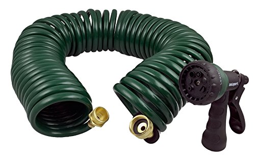 Instapark GHN-06 Heavy-Duty EVA Recoil Garden Hose with 7-Pattern Spray Nozzle, Green, 50 Foot ()