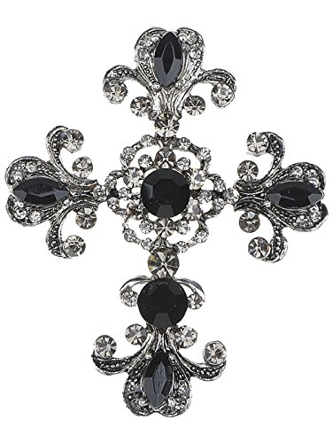 Alilang Gothic Holy Beaded Flowery Gunmetal Tone Crystal Flourish Church Religious Cross Pin Brooch