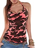 camouflage tank for women - Jaycargogo Womens Sexy Halter Neck Backless Camouflage Tank Top Blouse Pink XL