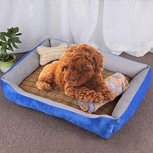 犬小屋 犬マットレス ラタンマット&ブランケットサイズとCZ犬の骨のパターンビッグソフトの暖かいケンネルペット犬猫マットブランケット、:L、80×60×15センチメートル(ブラックグレー) (色 : Light Grey)