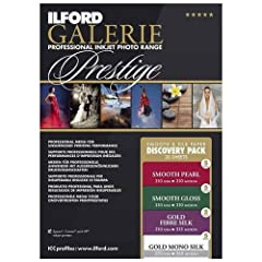 ILFORD Galleries Smooth Silk Discovery Pack contains 20 sheets, 5 each of ILFORD's most popular surfaces. This is the best way for you to really get a feel for ILFORD's Prestige line of paper. Including the NEW Gold Mono Silk! The ILFORD GALE...