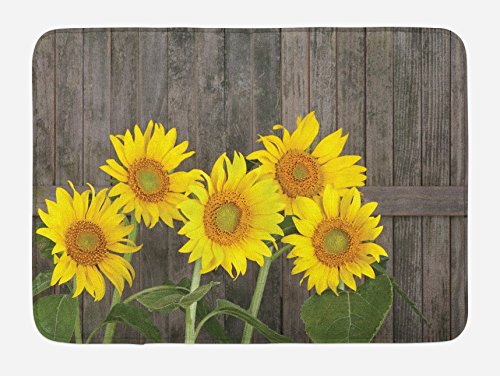 Ambesonne Sunflower Bath Mat, Helianthus Sunflowers Against Weathered Aged Fence Summer Garden Photo, Plush Bathroom Decor Mat with Non Slip Backing, 29.5 W X 17.5 W Inches, Brown Yellow Green