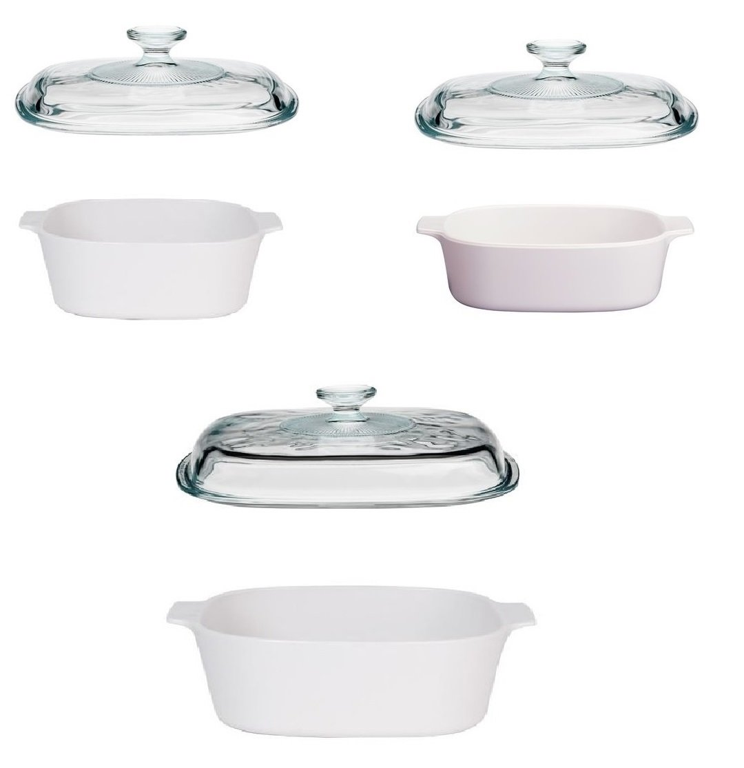 Corningware StoveTop Pyroceram Just White Casserole Sets (Six Piece)
