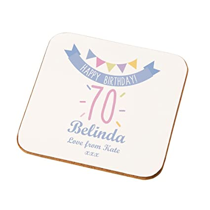Personalised 70th Birthday Coaster Gifts For Her Presents Amazoncouk Kitchen Home