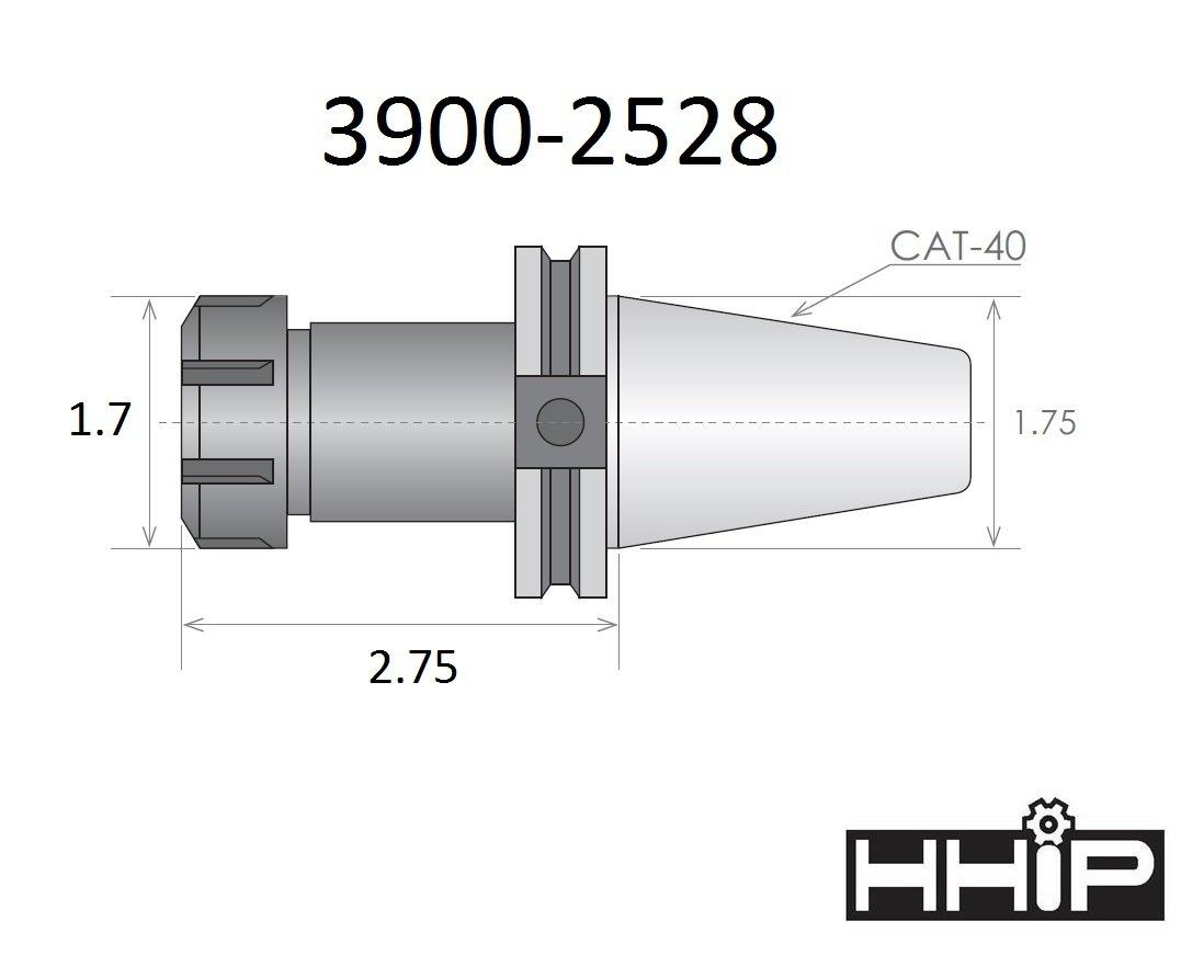 HHIP 3900-2528 ER-25 CAT 40 V-Flange Collet Chuck with 2.75 Gage Depth