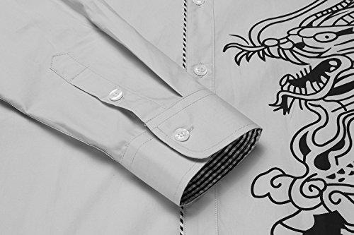 COOFANDY Men\'s Stylish Print Button Down Shirt Long Sleeve Casual Dress Shirt