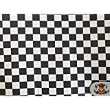 Polycotton Printed CHECKERED BLACK WHITE Fabric By the Yard