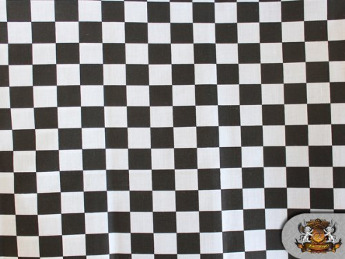 Polycotton Printed CHECKERED BLACK WHITE Fabric By the Yard]()