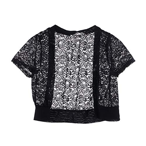 Summer Fashion Women Clothing Loose Shawl Short Cardigan Shawl Tops Lace Cardigan Gauze Lacing Cover-Up,Black,M from azhuang