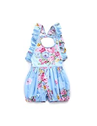 Flofallzique Toddler Girls Overalls Blue Floral Rompers Bodysuits for 1-6 Years Old