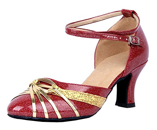 Knot Latin Ribbon Gold Ankle Honeystore Strap Dance Shoes Women's 1xwnUEXEq6