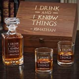 I Drink and I Know Things Personalized Whiskey Gift Set (Customizable Product)