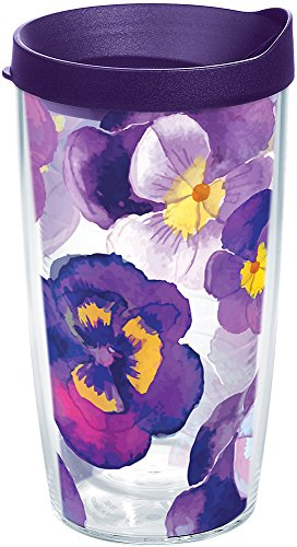 (Tervis 1243665 Watercolor Pansy Tumbler with Wrap and Royal Purple Lid 16oz, Clear)