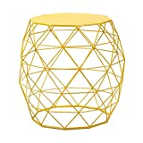 Homebeez Wire Round Iron Metal Stool Side Table /Coffee Table/Sofa Table Hatched Diamond Pattern (Yellow)