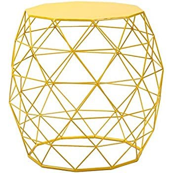 Amazon adeco home garden accents wire round iron metal stool homebeez wire round iron metal stool side table coffee tablesofa table hatched diamond pattern yellow keyboard keysfo Choice Image