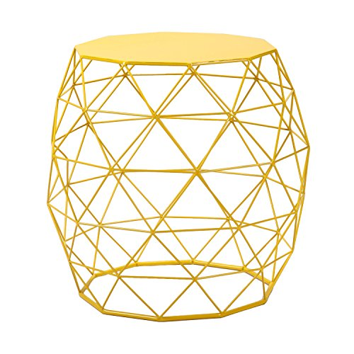 Homebeez Wire Round Iron Metal Stool Side Table/Coffee Table/Sofa Table Hatched Diamond Pattern (Yellow)
