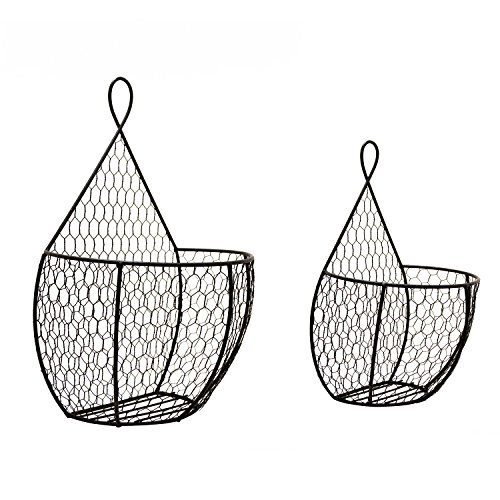 Useful UH-WB24 Double Hanging Display Storage Baskets - Pair of Wall Mount Baskets 1 Large 1 Small Wall Hanging Units for Flowers, Fruits and Veggies, Decorations, and More