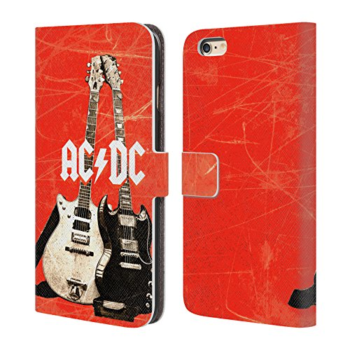 Officiel AC/DC ACDC Guitares Électriques Iconique Étui Coque De Livre En Cuir Pour Apple iPhone 6 Plus / 6s Plus