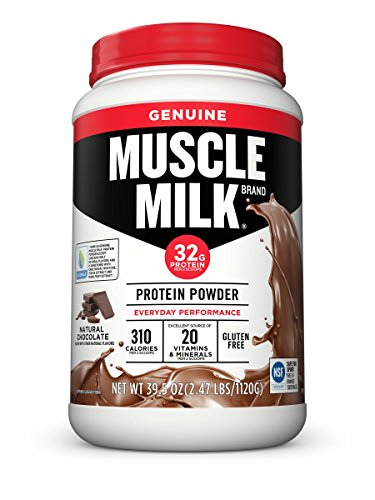 (Muscle Milk Genuine Protein Powder, Natural Real Chocolate, 32g Protein, 2.47 Pound)