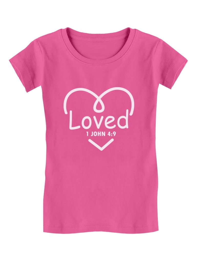 Christian God's Love Christianity Jesus Toddler/Kids Girls' Fitted T-Shirt 3T Wow Pink