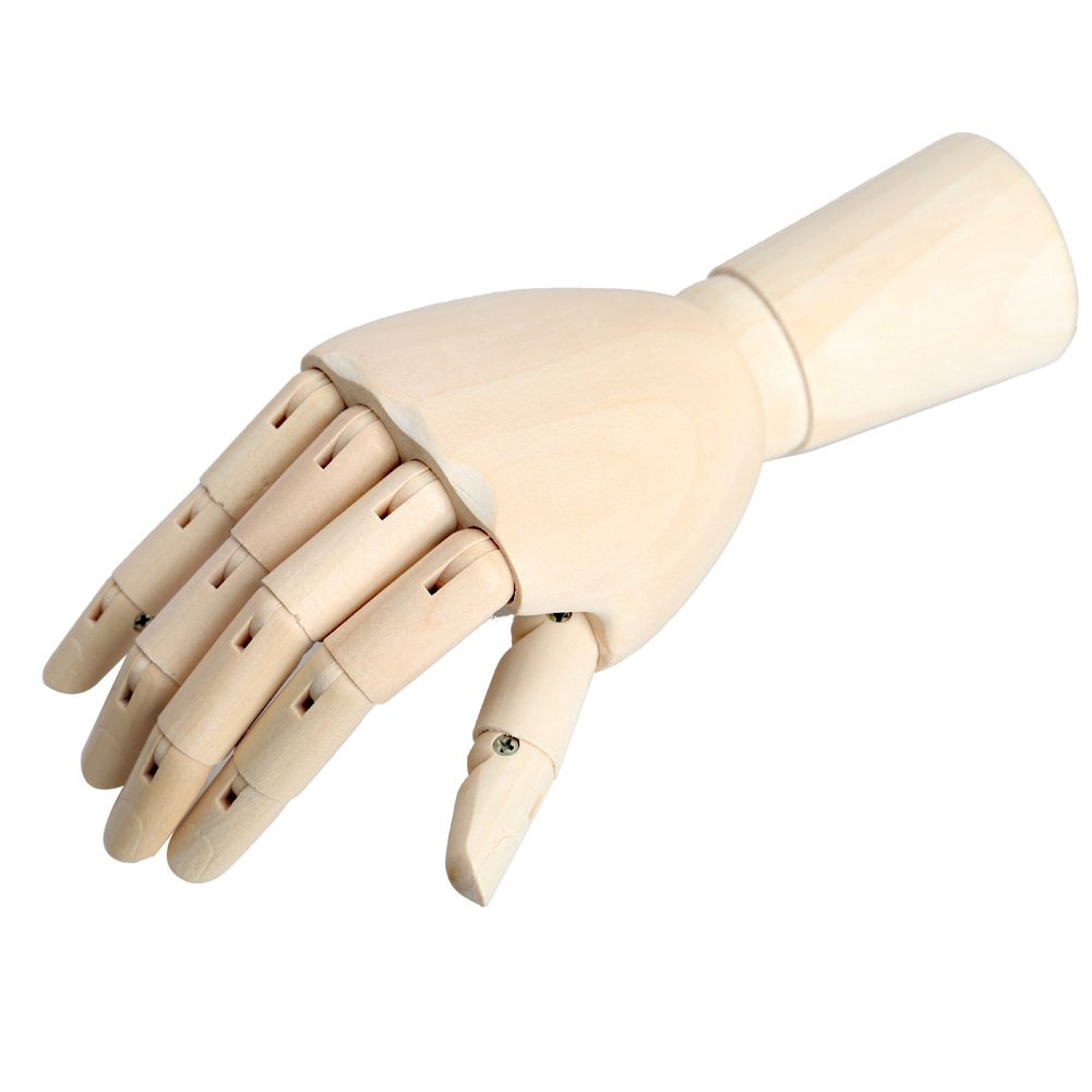 12Inch Male Wooden Articulated Right Hand Manikin Model Gift Art Accessories for Men Glamorway
